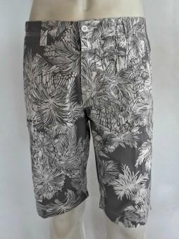 Grey White Tropical Print Shorts