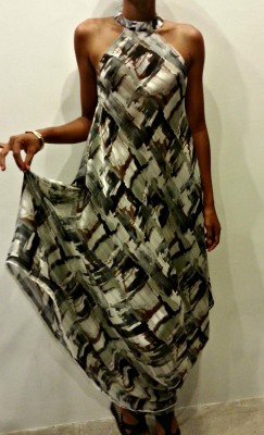 Black Tan White Abstract Chiffon