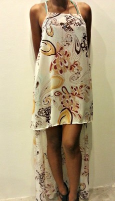 Cream Black Camel Chiffon Dress